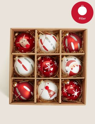 9 Pack Glass Novelty Baubles