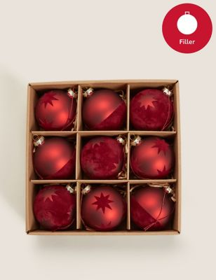9 Pack Red Glass and Velvet Luxury Baubles