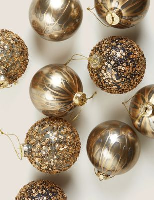 9 Pack Gold Glass Sequin Baubles
