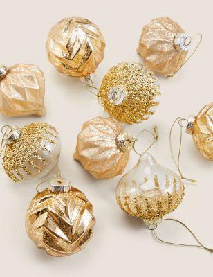 9 Pack Glitter Glass Baubles