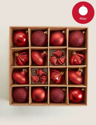 20 Pack Red Shatterproof Baubles