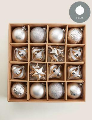 20 Pack Silver Shatterproof Baubles