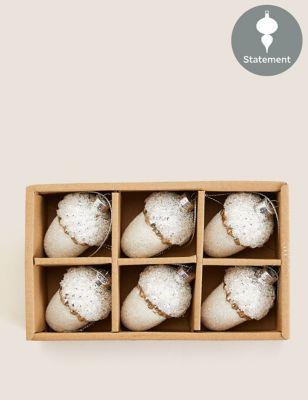 6 Pack Silver Glitter Glass Acorn Baubles