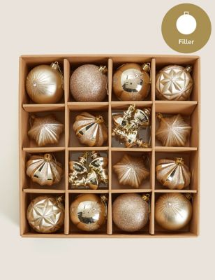 20 Pack Gold Baubles