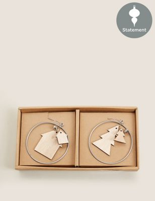 6 Pack Wooden Hanging Decorations