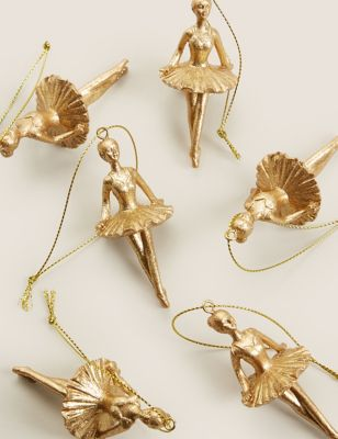 6 Pack Gold Hanging Ballerina Decorations
