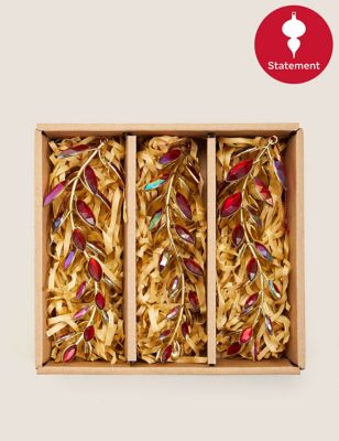 3 Pack Red Jewelled Leaf Tree Decorations