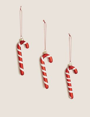 3 Pack Glass Candy Cane Decorations