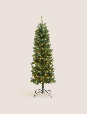 6ft Pre-lit Slim Pine Christmas Tree