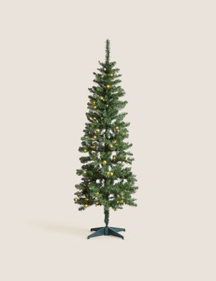 6ft Pre-Lit Slim Spruce Christmas Tree