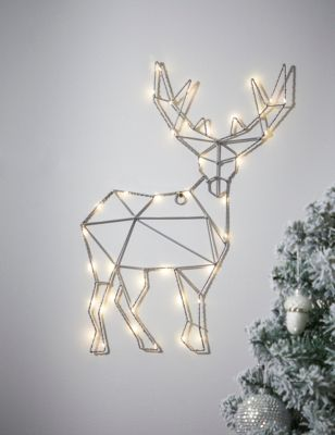 Silver Wire Light Up Stag Room Decoration