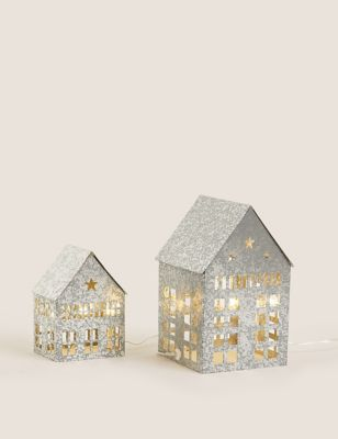 2 Pack Light Up Townhouse Decorations