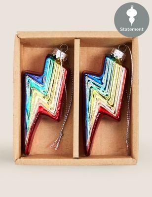 2 Pack Rainbow Lightning Bolt Decorations