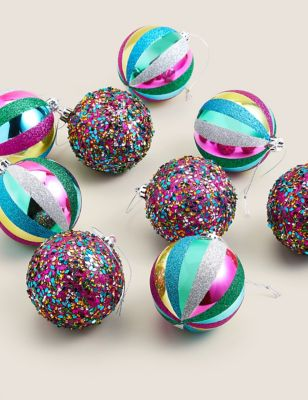 9 Pack Multicoloured Glass Baubles