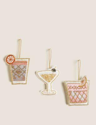 3 Pack Cocktail Appliqué Hanging Decorations