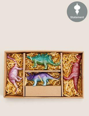 4 Pack Glitter Dinosaur Decorations