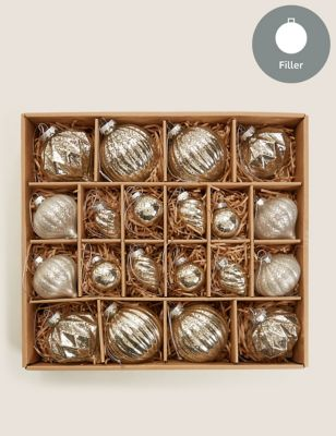 20 Pack Glass Luxury Baubles