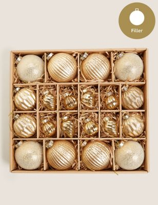 20 Pack Gold Glass Luxury Baubles