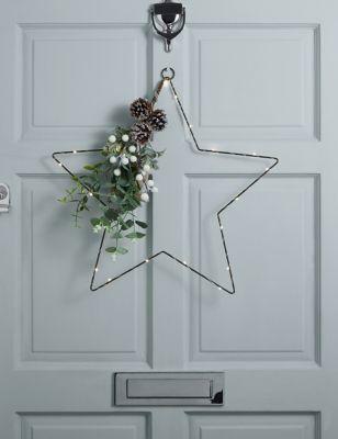 Pre-Lit Wire Star Wreath