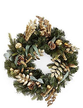 Gold Bauble Wreath, , catlanding