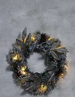 Snowy Pre-lit Wreath, , catlanding