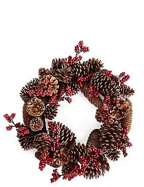Pinecone And Berry Wreath, , catlanding