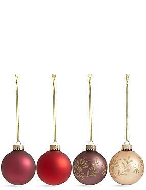 Set of 12 Luxury Glass Boutique Baubles, , catlanding