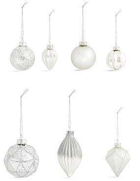 Set of 20 Luxury Silver Glass Baubles, , catlanding