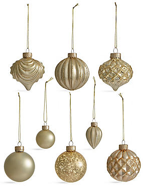 Set of 20 Luxury Gold Glass Tree Decorations, , catlanding