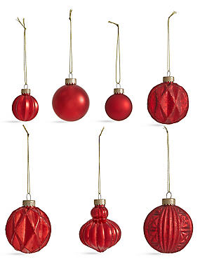 Set of 20 Luxury Red Glass Baubles, , catlanding