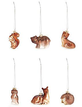 Set of 6 Luxury Glass Animal Decorations, , catlanding