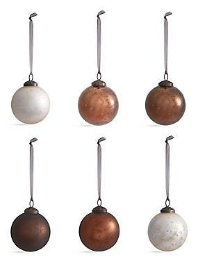Set of 6 Luxury Glass Baubles, , catlanding