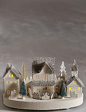 Light-up House Scene with Moving Train, , catlanding