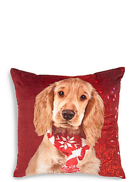 Christmas Spaniel Cushion, , catlanding