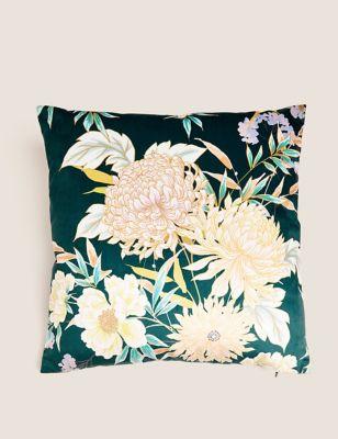 Velvet Decorative Floral Cushion