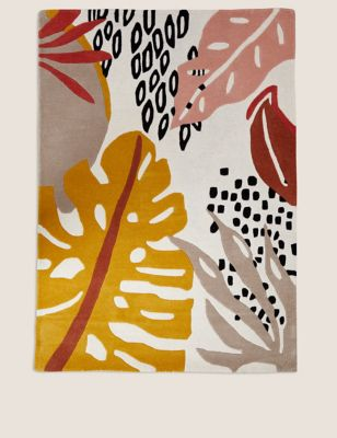 Pure Wool Abstract Leaf Patterned Rug