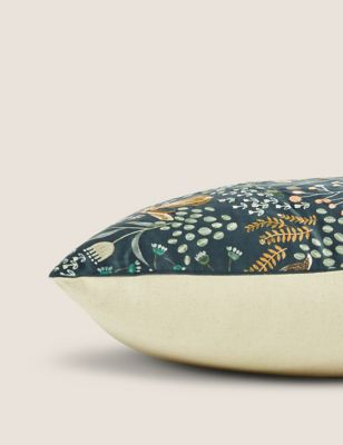 Woodland Print Embroidered Cushion