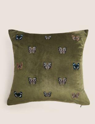 Velvet Butterfly Medium Embroidered Cushion