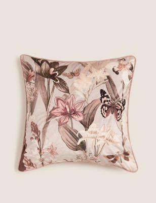 Floral Embroidered & Embellished Cushion