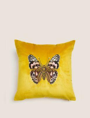 Velvet Butterfly Embroidered Cushion