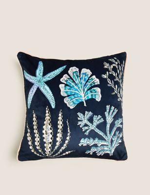 Coral Medium Embroidered Cushion