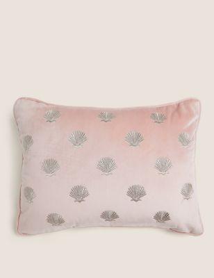 Velvet Shell Embroidered Bolster Cushion