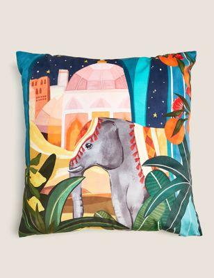 Velvet Medium Elephant & Oranges Cushion