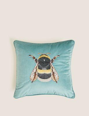 Velvet Bee Embroidered Cushion