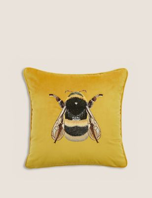 Velvet Embroidered Bee Cushion