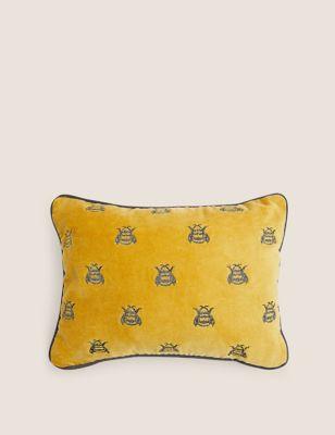 Pure Cotton Velvet Bee Bolster Cushion