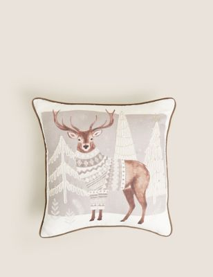 Cotton Mix Winter Stag Piped Cushion