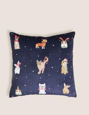 Santa Paws Small Velvet Cushion