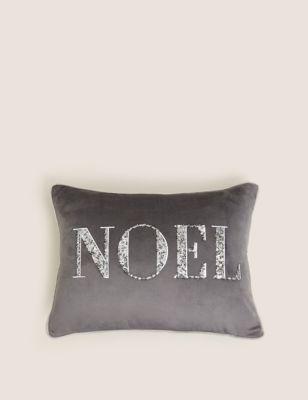 Velvet Noel Embroidered Bolster Cushion