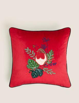 Velvet Robin Embroidered Cushion